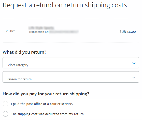 PayPal refunded returns request form