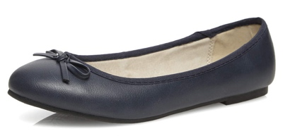 Navy ballerina pumps from Evans