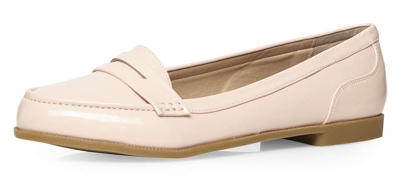 Nude patent loafers from Evans