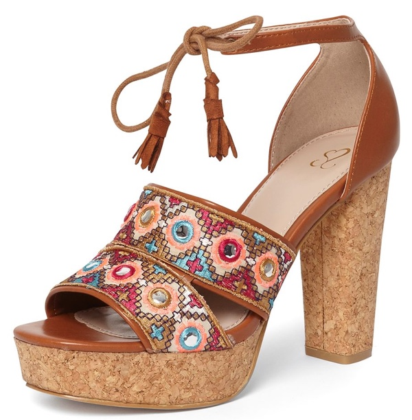 tan embroidered sandals from Evans