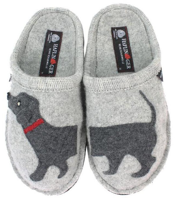 Haflinger Doggy slippers go up to size 12 UK / 14 US.  Available from After 8 Shoes.