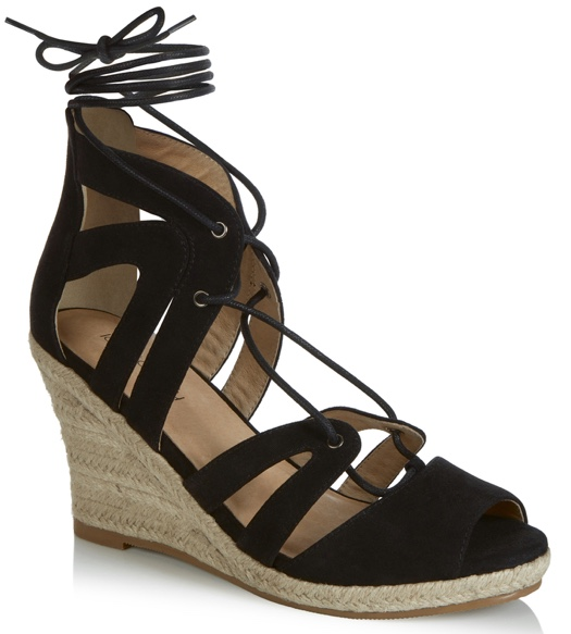 Long Tall Sally black lace up wedges