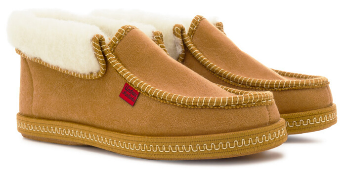Andres Machado Bamara faux suede wool fleece lined bootee slippers in caramel available from Cinderella Shoes up to size 11 UK.