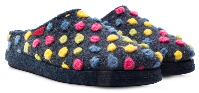 Andres Machado Dynamic wool mule slippers in multicoloured dots available from Cinderella Shoes up to size 12 UK / 14 US / 46 EU.