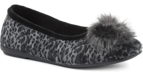 Pavers pompom slipper pumps go up to size 9 UK. Shown in grey leopard, other prints & colours available.