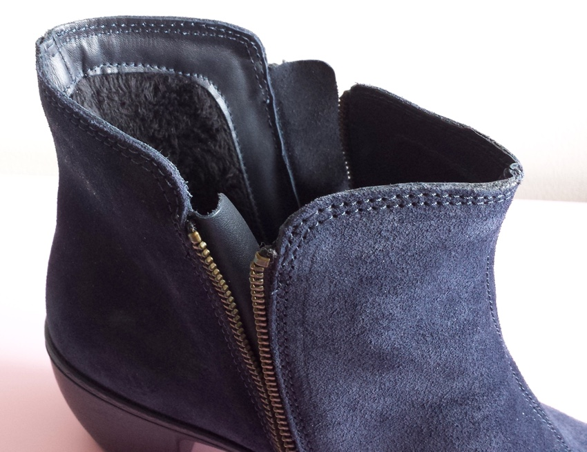 Inside of Samia ankle boot showing furry lining at back and full zip down each side